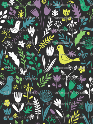 Papercut Meadow - Teal on charcoal
