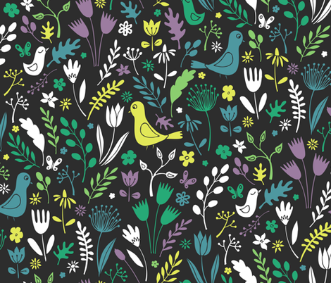 Papercut Meadow - Teal on charcoal fabric by cecca on Spoonflower - custom fabric