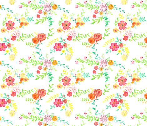Flowers on White fabric by geekygamergirl on Spoonflower - custom fabric