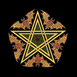 Celtic Bat Star on Black