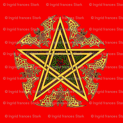 Celtic Bat Star on Red