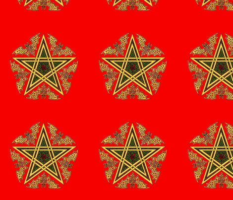 Celtic Bat Star on Red fabric by ingridthecrafty on Spoonflower - custom fabric