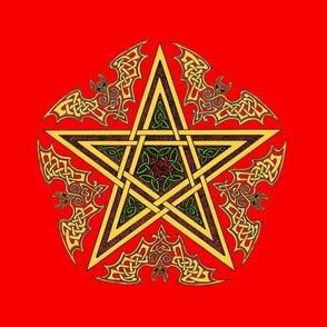 Celtic Bat Star on Red