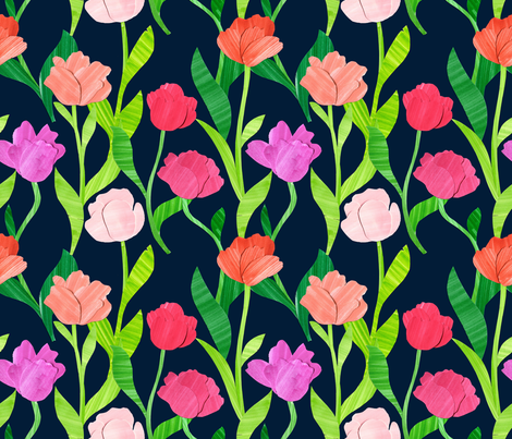Paper Tulip Garden fabric by mygiantstrawberry on Spoonflower - custom fabric