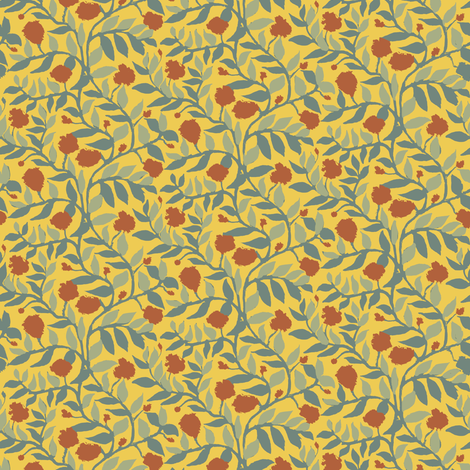 Terra Cotta Bayeux Vine in Summer fabric by eclectic_house on Spoonflower - custom fabric