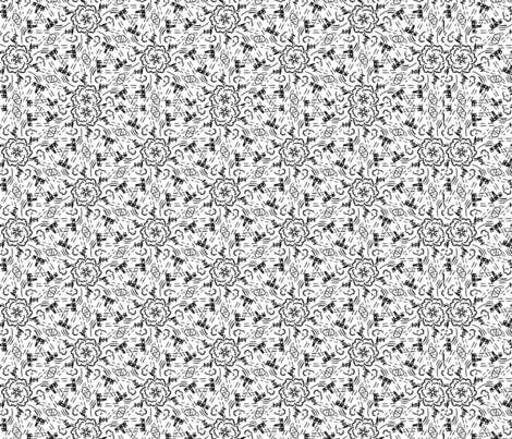 Space Battle - Black and White fabric by the_wookiee_workshop on Spoonflower - custom fabric