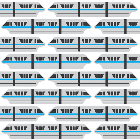 Monorail - Teal fabric by the_wookiee_workshop on Spoonflower - custom fabric