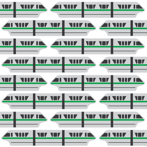 Monorail - Green fabric by the_wookiee_workshop on Spoonflower - custom fabric