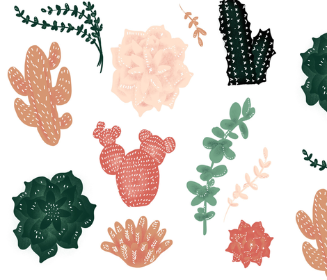 Darling Succulents - Larger Size fabric by taraput on Spoonflower - custom fabric