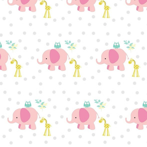 Elephant Giraffe 723 pink-  Mint leaves gray polka dot