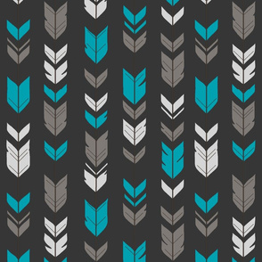 Arrow Feathers- teal, gray on charcoal