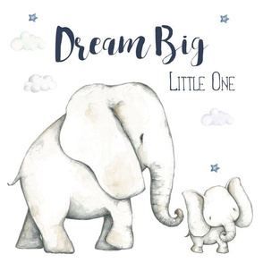 "11.5""x11.5"" / 30 c.m. Dream Big Floral Blue Elephant / Boys"