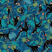 Spider Monkeys on Blue