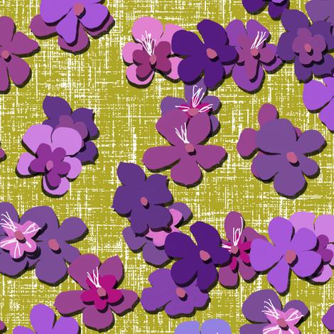 Tibouchinas on bright straw by Su_G fabric by su_g on Spoonflower - custom fabric