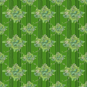 Green Vintage Floral with Stripes