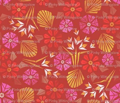 Papercut Flowers warm palette