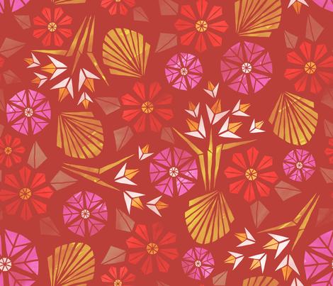 Papercut Flowers warm palette fabric by pinky_wittingslow on Spoonflower - custom fabric
