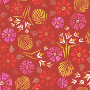 Papercut Flowers warm palette