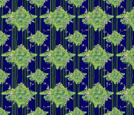 Green-Indigo Vintage Floral with Stripes fabric by mjlacroix on Spoonflower - custom fabric