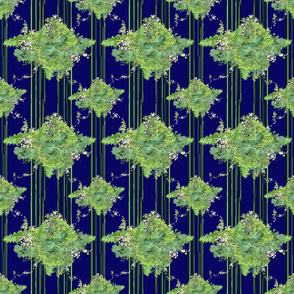 Green-Indigo Vintage Floral with Stripes