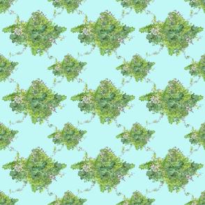 Green-Aqua Vintage Floral Bouquet