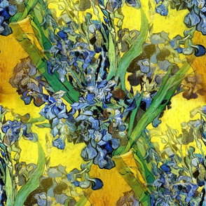 1890 Vase with Irises Against A Yellow Background