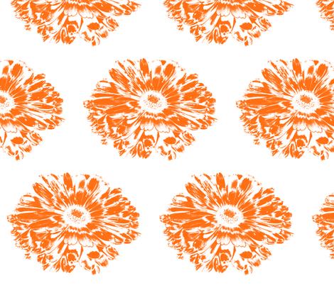 Negative Papercut Orange Daisy fabric by modernfox on Spoonflower - custom fabric