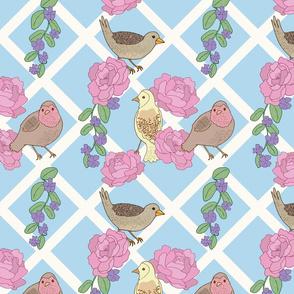 Springtime Lattice Birds and Peonies