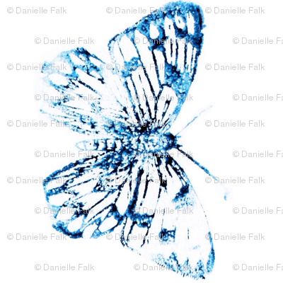 Blue watercolor butterfly-large