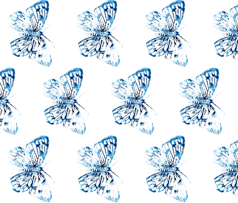 Blue watercolor butterfly-large fabric by daniellereneefalk on Spoonflower - custom fabric