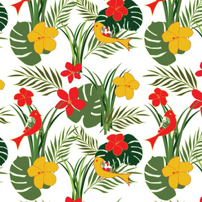 Tropical Birds and Flowers - Large - Fauna - Green - Red - Gold