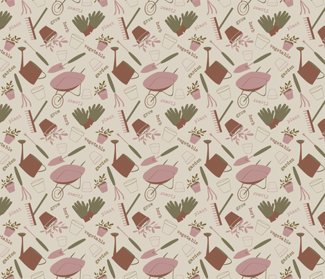 A Day in the Garden - Rose - small fabric by whyitsme_design on Spoonflower - custom fabric