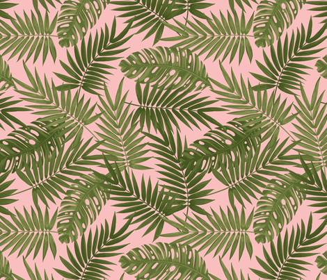 Frond of You - Pink fabric by meganpalmer on Spoonflower - custom fabric