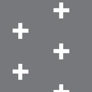Large  Swiss Cross - White on Gray -