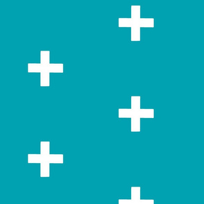 Large Swiss Cross - White on teal