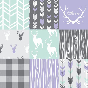 Patchwork Deer- lilac,mint,grey - Edited with plaid
