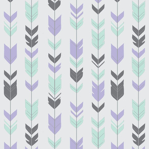 Arrow Feathers - Mint, lilac, grey, on silver
