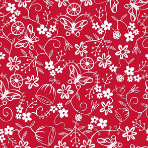 Papercut Floral Red
