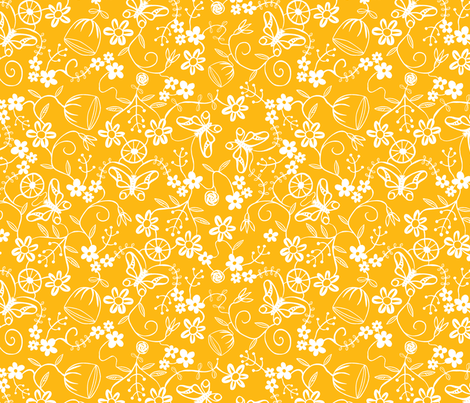 Papercut Floral Yellow fabric by lenazembrowskij on Spoonflower - custom fabric
