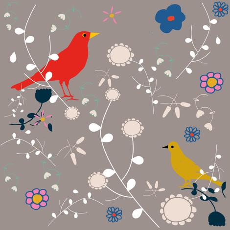 Bird_blooms fabric by bruxamagica on Spoonflower - custom fabric