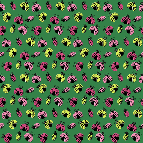 Ladybird Shuffle - Stem Green - Small fabric by inscribed_here on Spoonflower - custom fabric