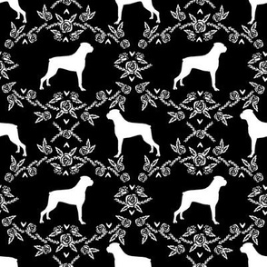 Boxer florals dog breed silhouette fabric black