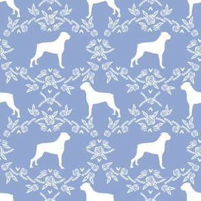 Boxer florals dog breed silhouette fabric cerulean