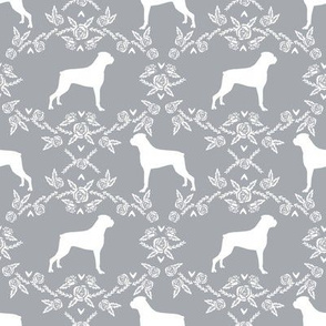 Boxer florals dog breed silhouette fabric grey