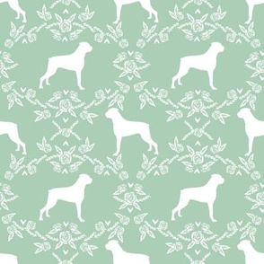 Boxer florals dog breed silhouette fabric mint
