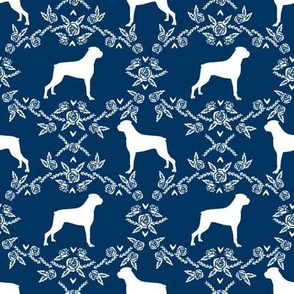 Boxer florals dog breed silhouette fabric navy
