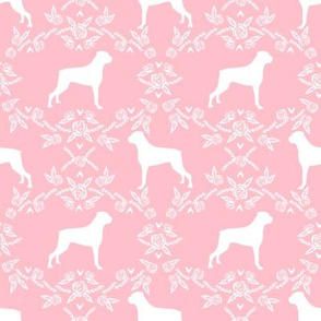 Boxer florals dog breed silhouette fabric pink