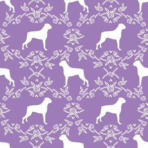 Boxer florals dog breed silhouette fabric purple