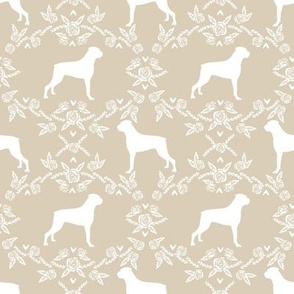 Boxer florals dog breed silhouette fabric sand
