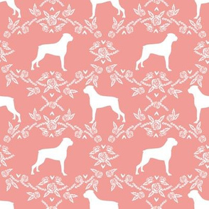 Boxer florals dog breed silhouette fabric sweet pink